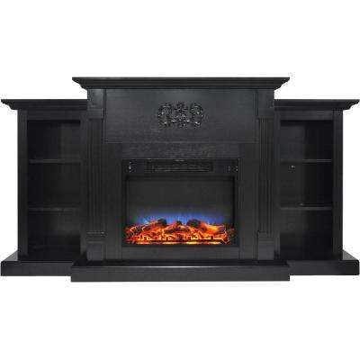 Sanoma 72 in. Electric Fireplace in Black Coffee with Built-in Bookshelves and a Multi-Color LED Flame Display
