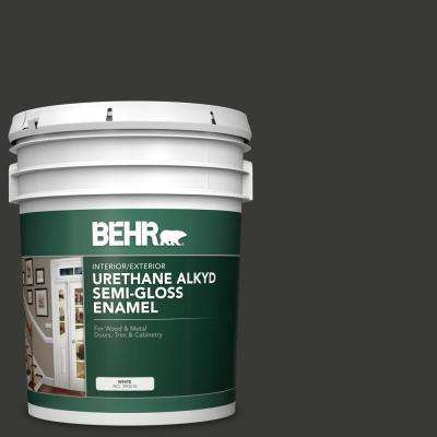 5 gal. Home Decorators Collection #HDC-MD-04 Totally Black Urethane Alkyd Semi-Gloss Enamel Interior/Exterior Paint