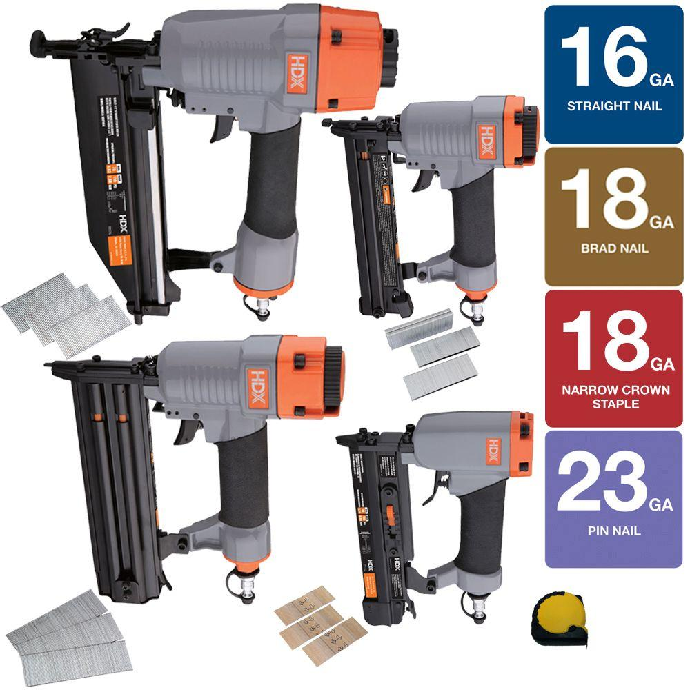 HDX HDX Pneumatic Finishing Kit with Measuring Tape (4-Piece)