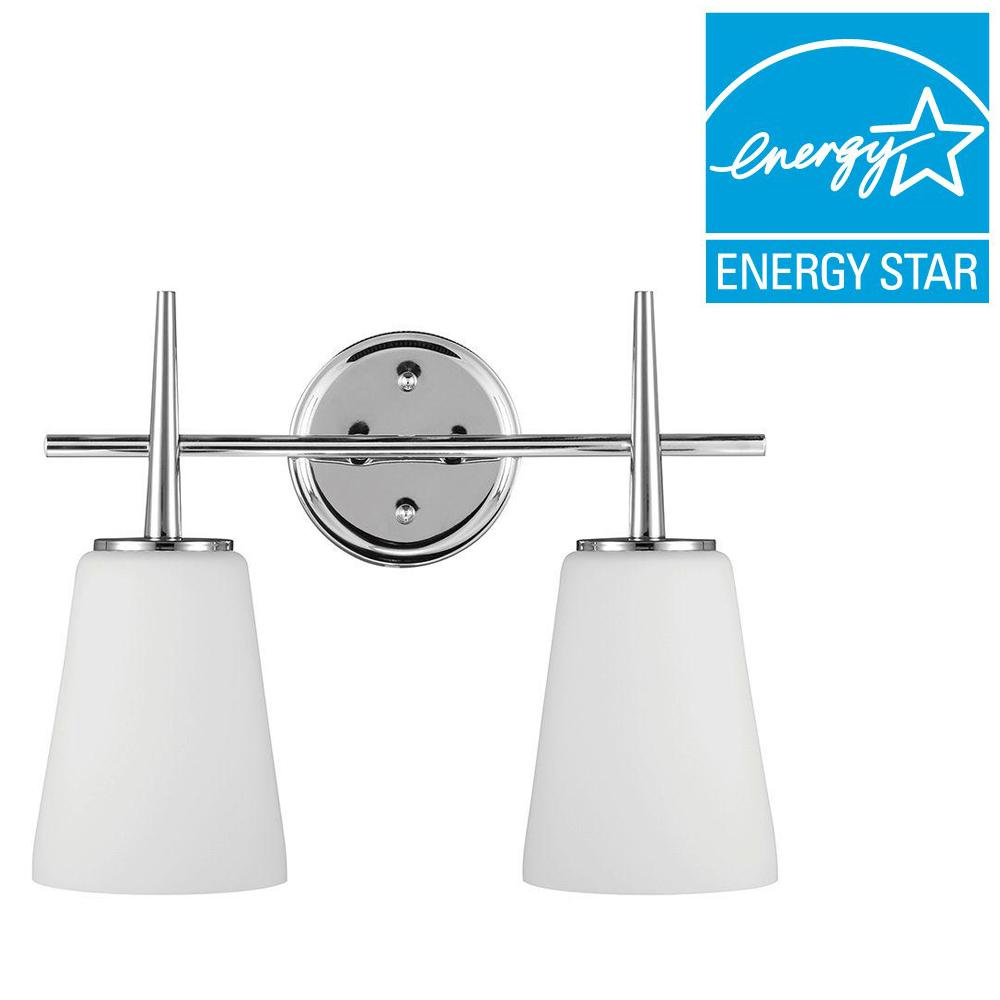 Sea Gull Lighting Driscoll 2-Light Chrome Fluorescent Wall/Bath Vanity Light with Inside White Painted Etched Glass
