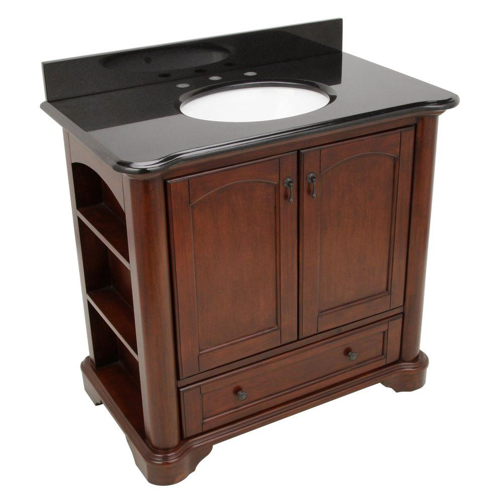 Pegasus Vermont 36 In Vanity In Mahogany With Granite Vanity Top In Black And Sink 9078 Vs36a