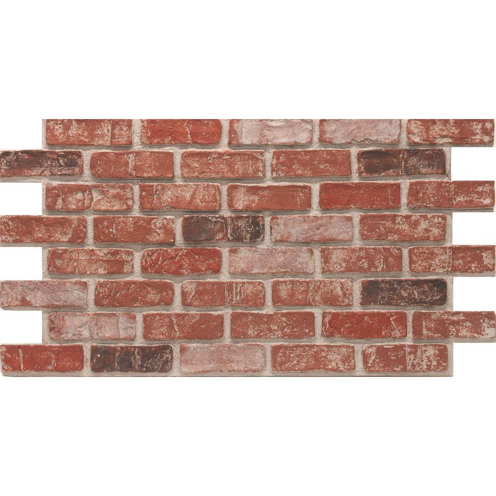 Urestone Weathered Orange 24 In. X 46 3/8 In. Faux Used Brick Panel  (4 Pack) Ul2600pk 80   The Home Depot
