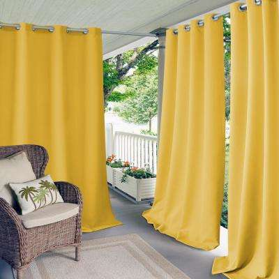 Connor 52 in. W x 84 in. L Indoor/Outdoor Solid Grommet Window Curtain Yellow
