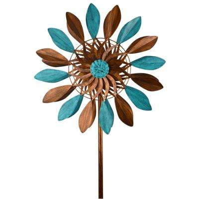 84 in. Metal Blue/ Bronze Leave Spinner