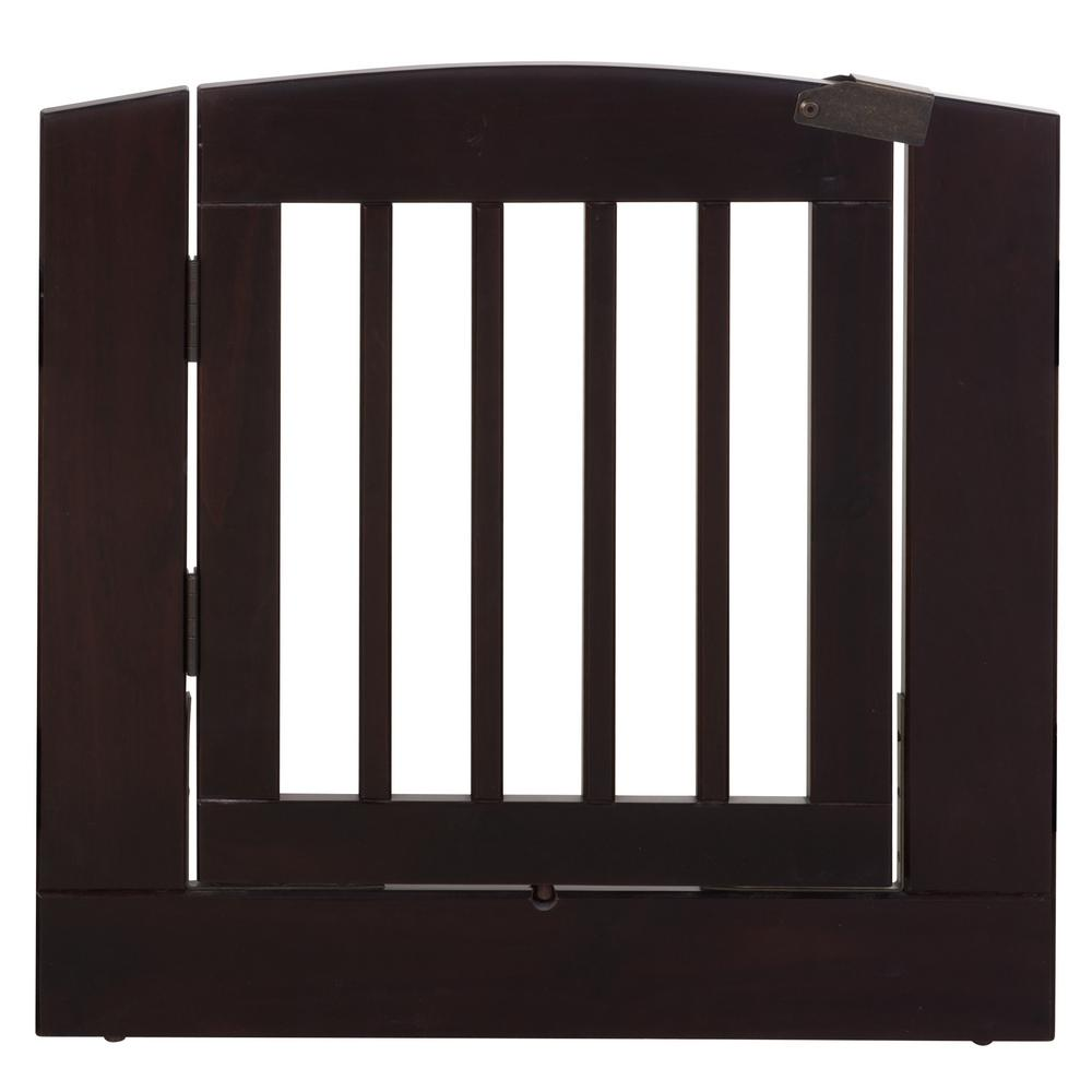Ruffluv 24 in. H Wood Freestanding Single Panel Cappuccino Pet Gate