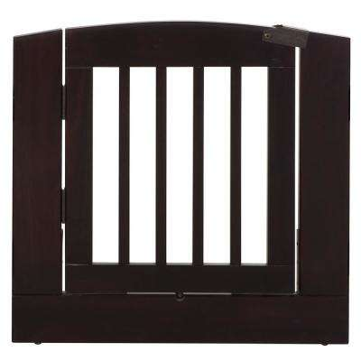 Ruffluv 24 in. H Wood Freestanding Single Panel Cappuccino Pet Gate with Door