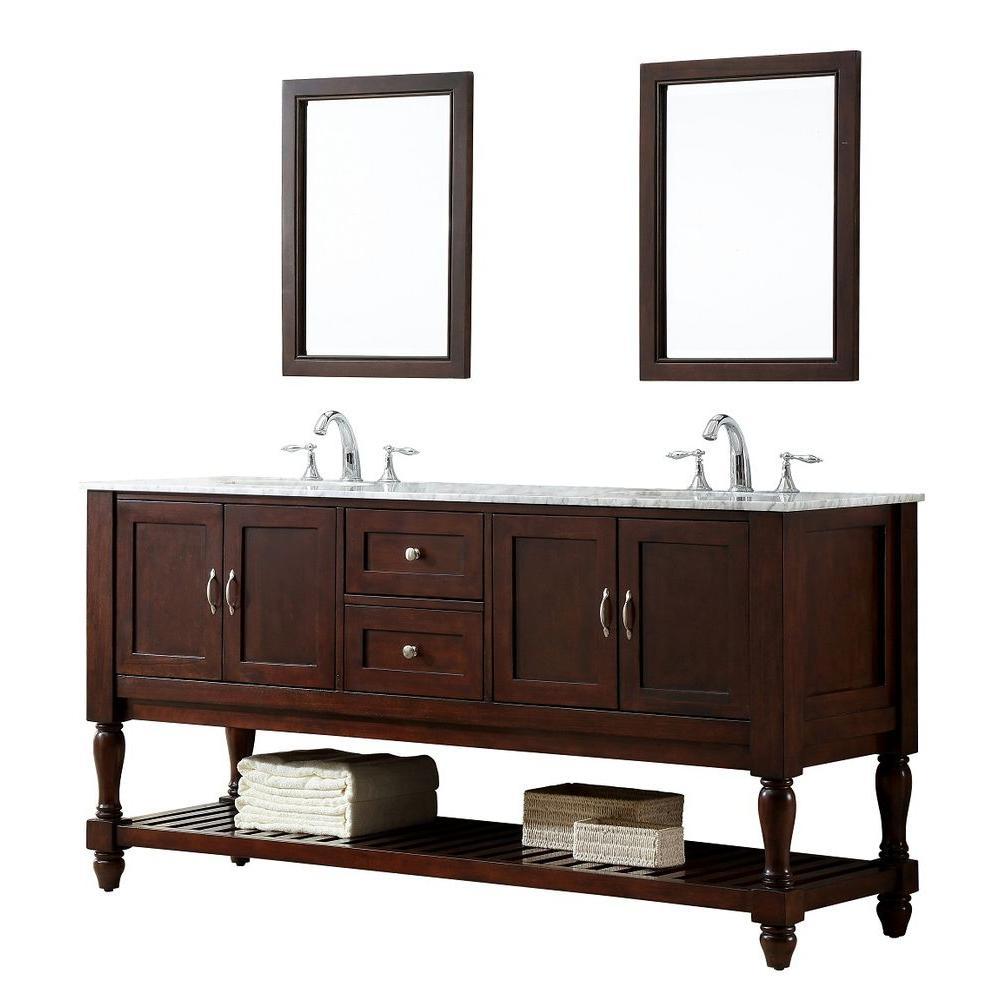 Mission Turnleg 70 in. Double Vanity in Dark Brown with Marble Vanity Top in Carrara White and Mirror