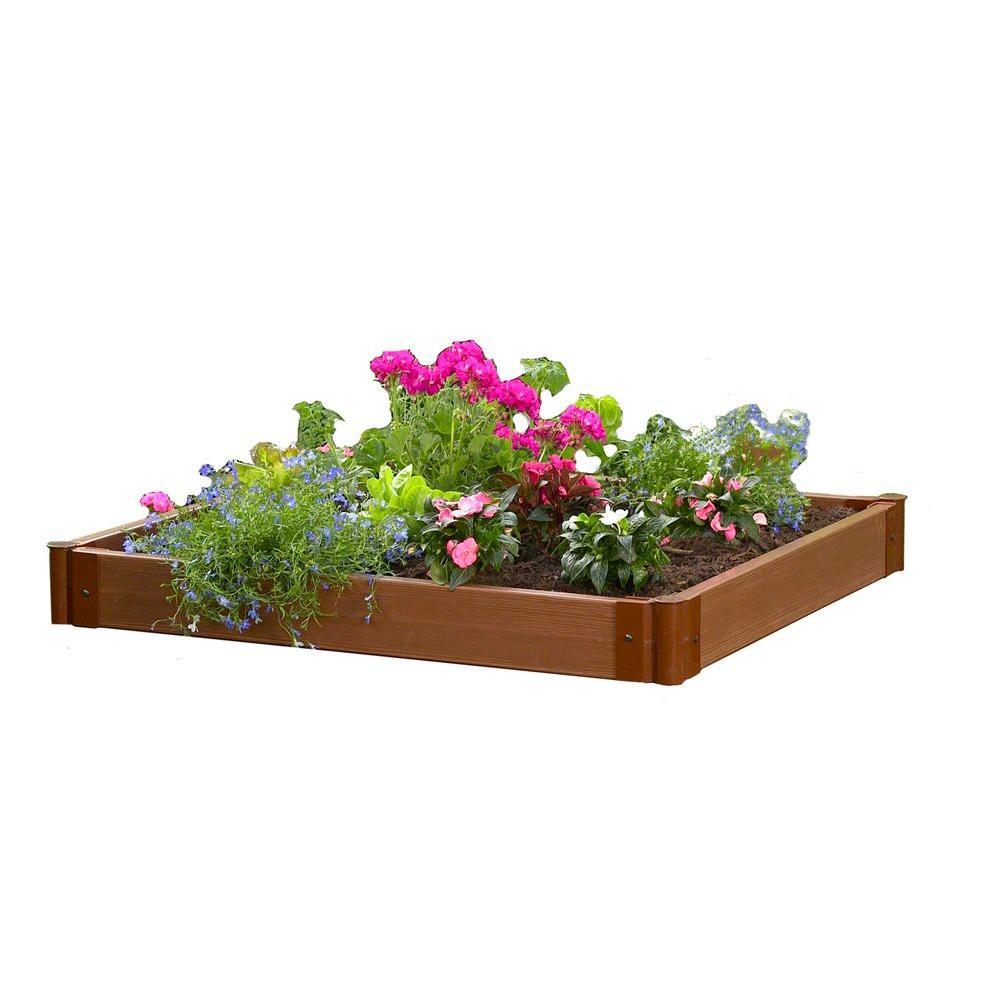 Frame It All 48 in. W x 48 in. D x 6 in. H 4 Timber Raised Garden and Sandbox Kit - DISCONTINUED
