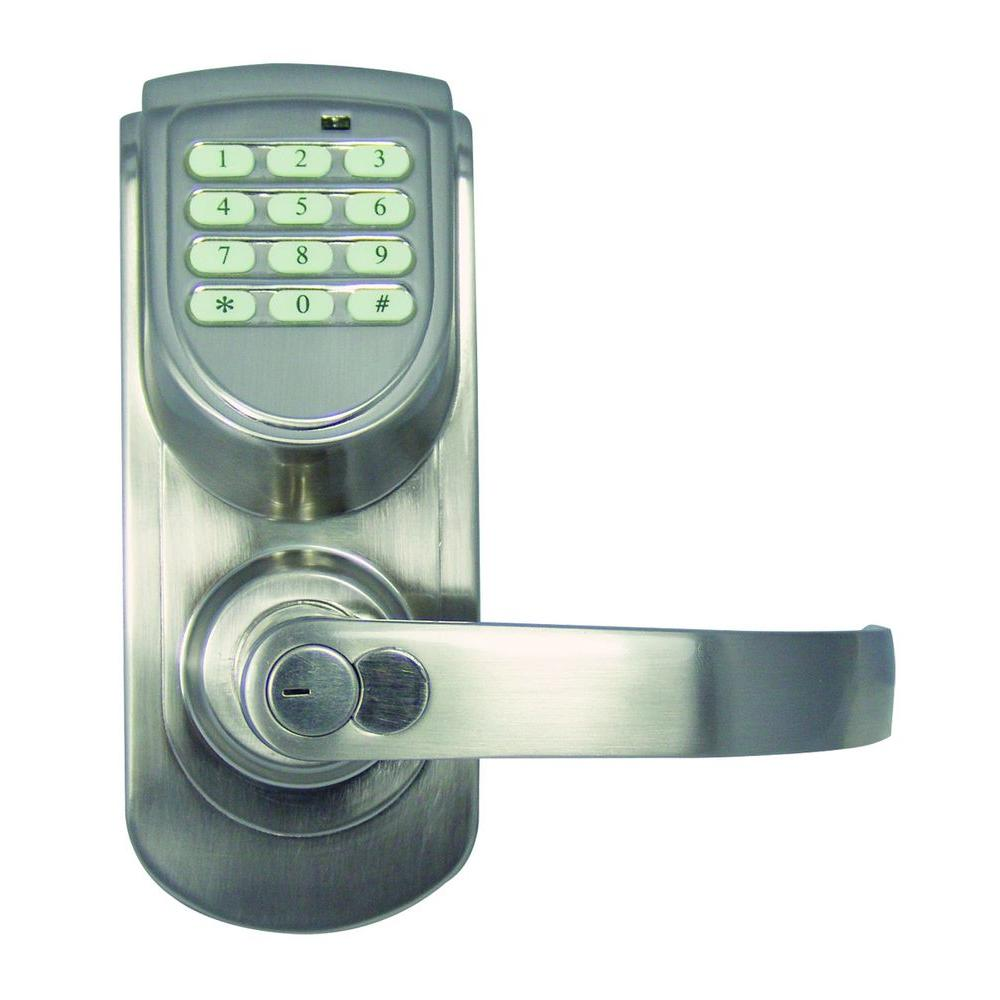 Design House Satin Nickel Electronic Entry Lever with Right-Hand