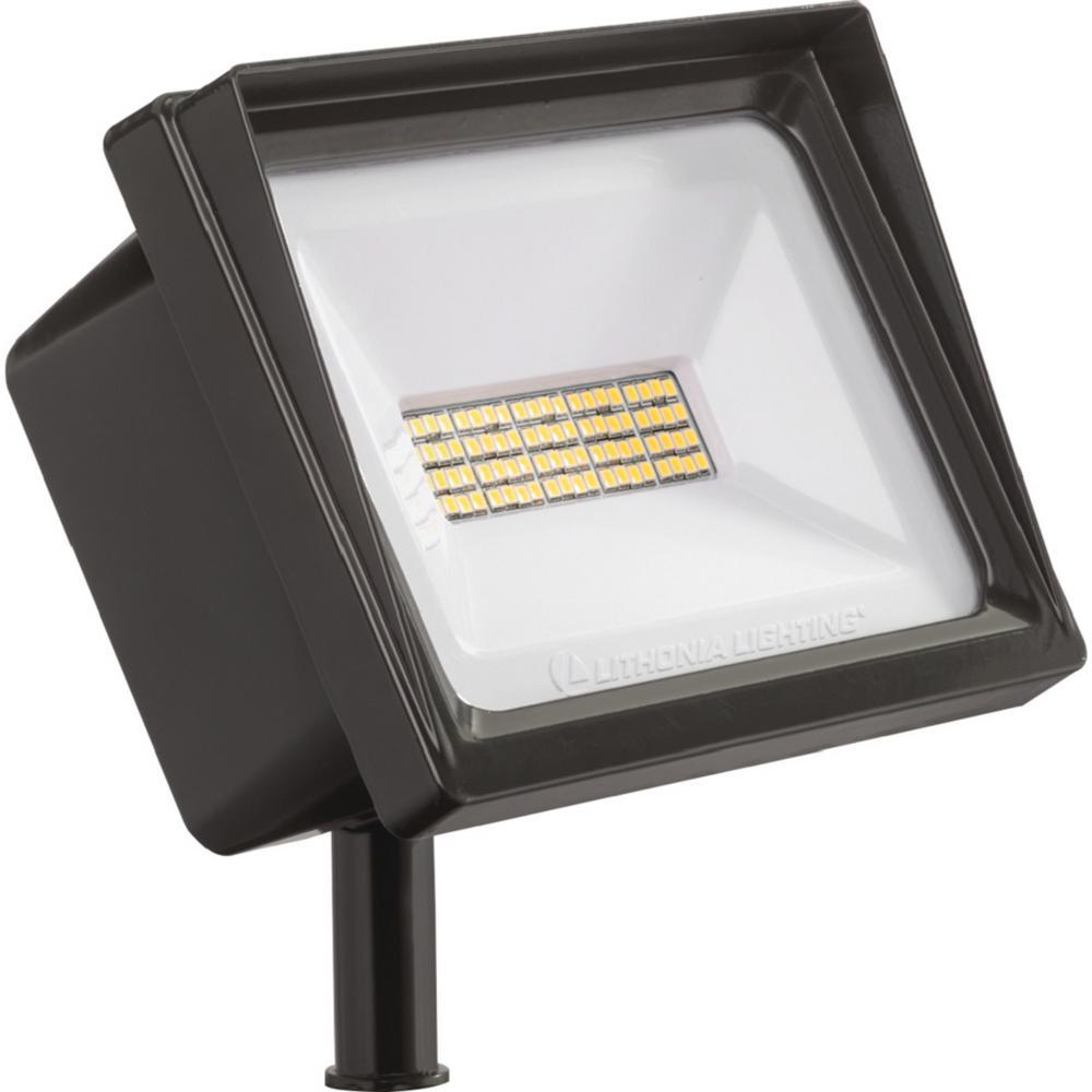 Contractor Select QTE Series Line Voltage 300-Watt Equivalent Dark Bronze Knuckle Mount LED Landscape Flood Light 4000K