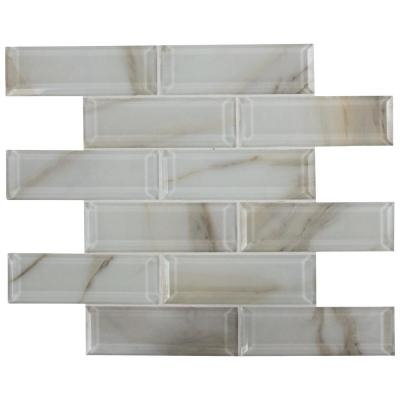 Ivory Amber Beveled 11.81 in. x 11.81 in. x 8mm Subway Glossy Glass Mesh-Mounted Mosaic Tile (9.7 sq. ft. / case)