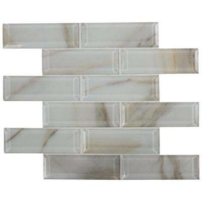 Ivory Amber Beveled Subway 11.81 in. x 11.81 in. x 8mm Glass Mesh-Mounted Mosaic Tile (9.7 sq. ft./case)