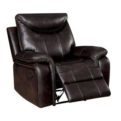 Pherra Dark Brown Breathable Leatherette Recliner