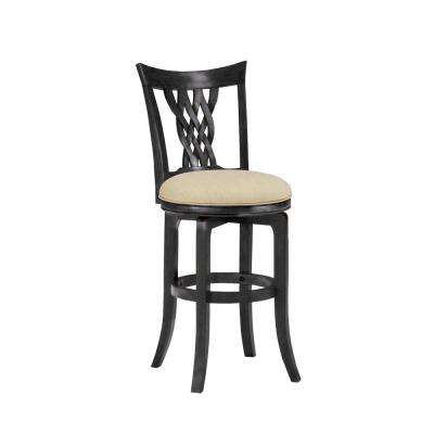 Embassy 26 in. Rubbed Black and Cherry Swivel Cushioned Counter Stool