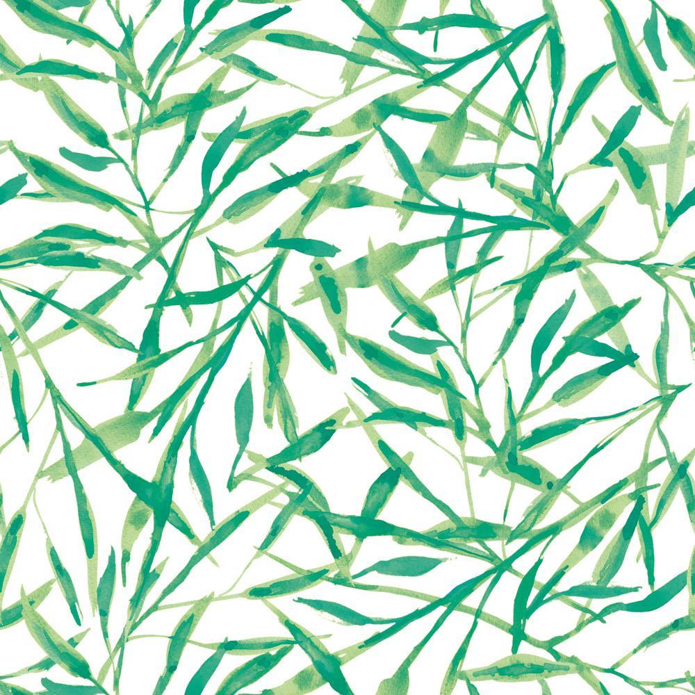 Watercolor Leaves Jade Self-Adhesive Removable Wallpaper