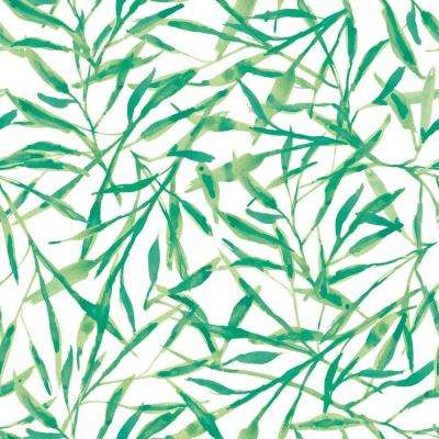 Watercolor Leaves Jade Self-Adhesive Removable Wallpaper