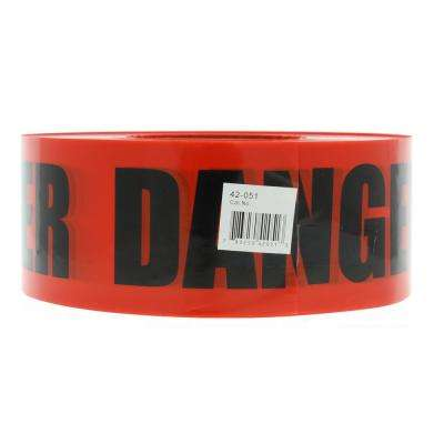 3 in. x 1000 ft. Barricade Tape, Danger, Red, (1 Roll)