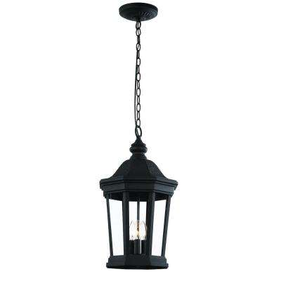 3-Light Black Outdoor Chateau Villa Hanging Lantern