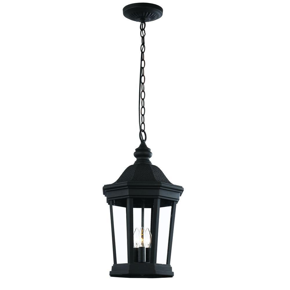 Chateau Pedestal Lantern Nickel: Bel Air Lighting 3-Light Black Outdoor Chateau Villa