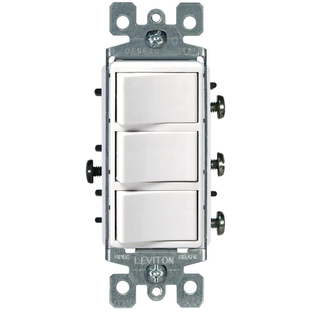 Leviton Decora 15 Amp 3 Rocker Combination Switch White R62 01755 Way Dimmer Wiring Diagram Light In Middle