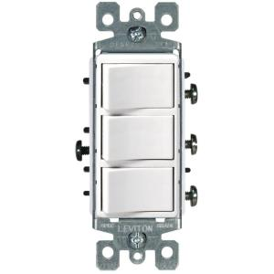 Leviton Decora 15 Amp Illuminated Switch, White-R72-05611-2WS - The on 3 gang switch cover, 3 gang weatherproof box cover, 3 gang light switch, 3 gang electrical switches, 3 gang wall box, three switches one light diagram,