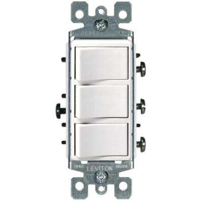 Decora 15 Amp 3-Rocker Combination Switch, White