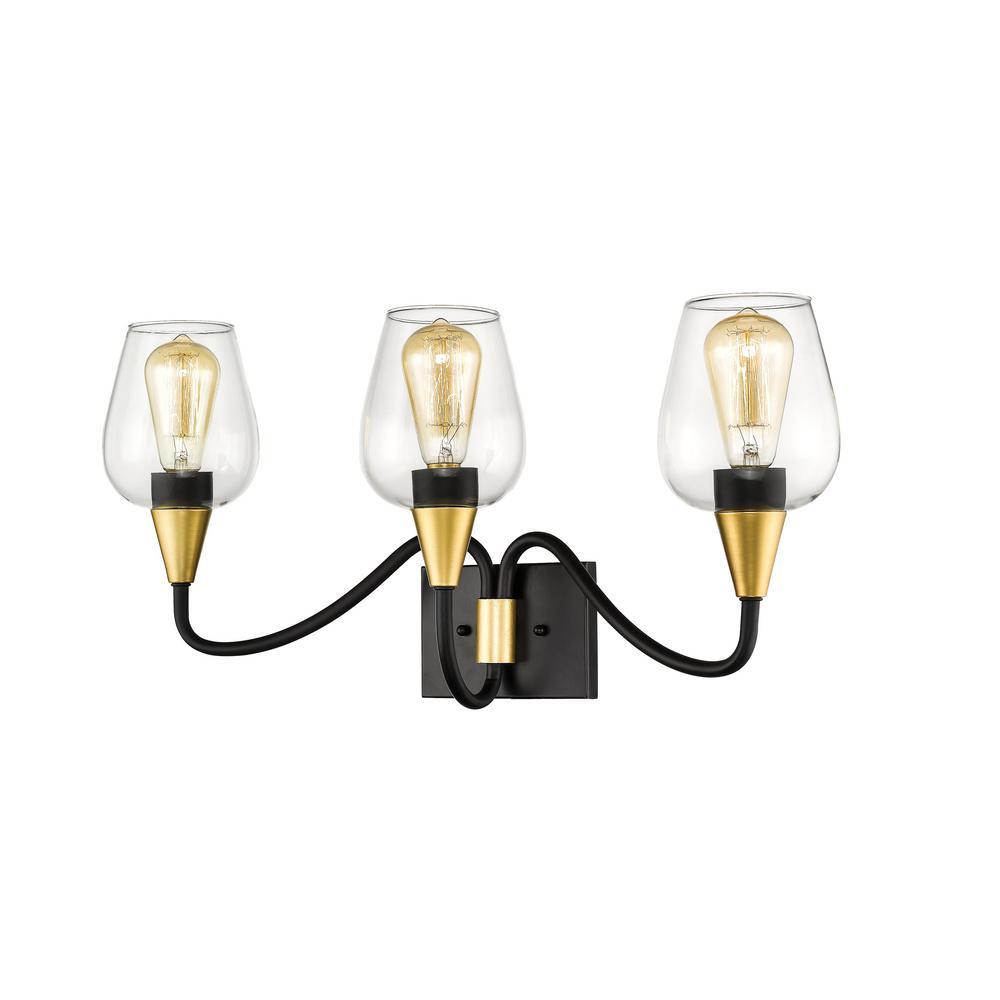25 in. Norwalk 3-Light Wide Matte Black/Gold Bathroom Vanity Light