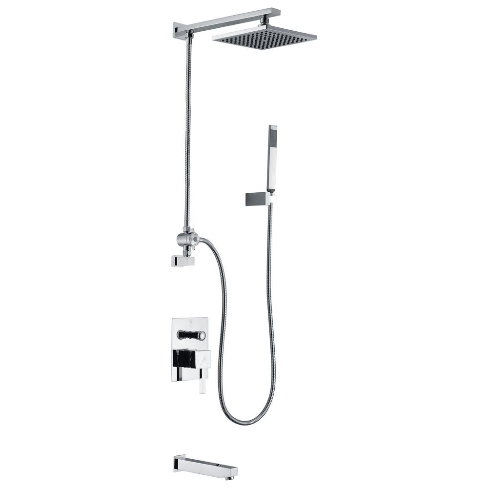 ANZZI Byne 1-Handle 1-Spray Tub and Shower Faucet with Sprayer Wand ...