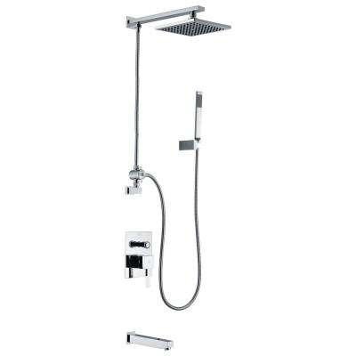 Byne 1-Handle 1-Spray Tub and Shower Faucet with Sprayer Wand in Polished Chrome (Valve Included)