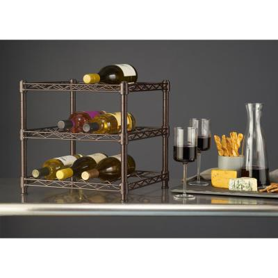 3-Shelf Countertop Wire Wine Rack in Antique Bronze