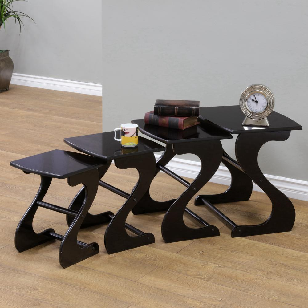 HomecraftFurniture Homecraft Furniture Espresso 4-Piece Nesting End Table, Brown