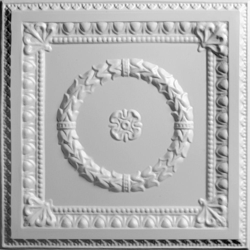 Ceilume Evangeline White 2 ft. x 2 ft. Lay-in or Glue-up Ceiling Panel (Case of 6)