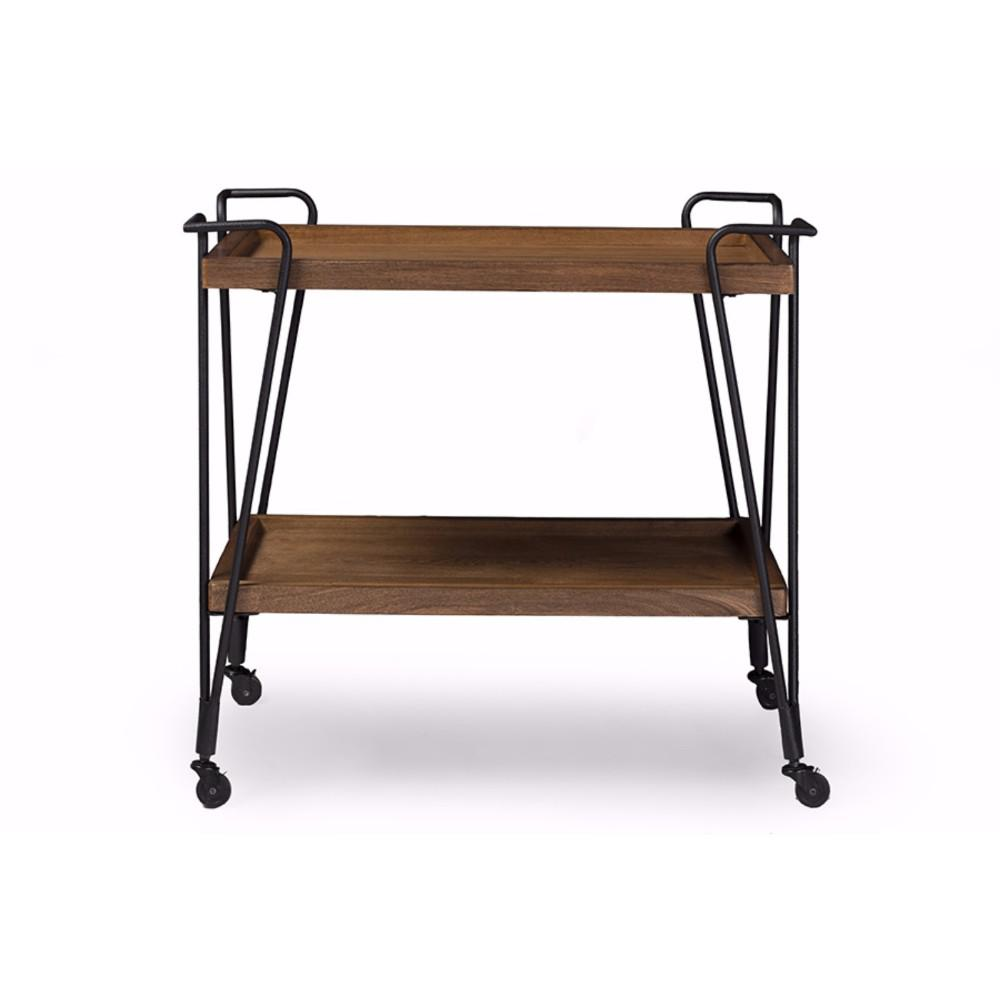 Benzara industrial style brown and black ash wood mobile serving bar cart bm140276 the home depot - Industrial style mobel ...