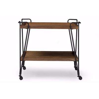 Industrial Style Brown and Black Ash Wood Mobile Serving Bar Cart