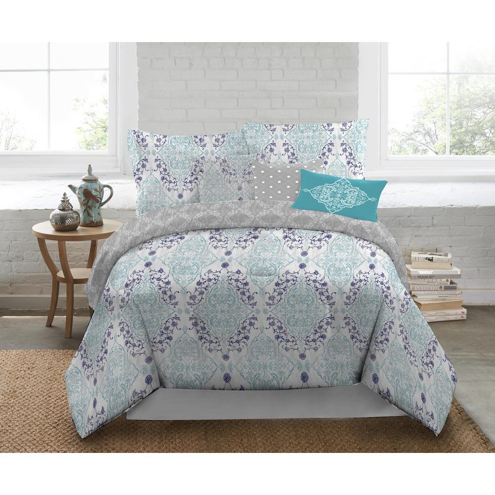 Nicole Miller 5-Piece Queen Multi Damask Comforter Set