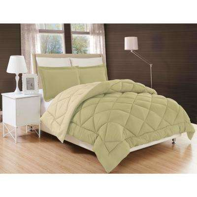 Down Alternative Sage and Cream Reversible King Comforter Set