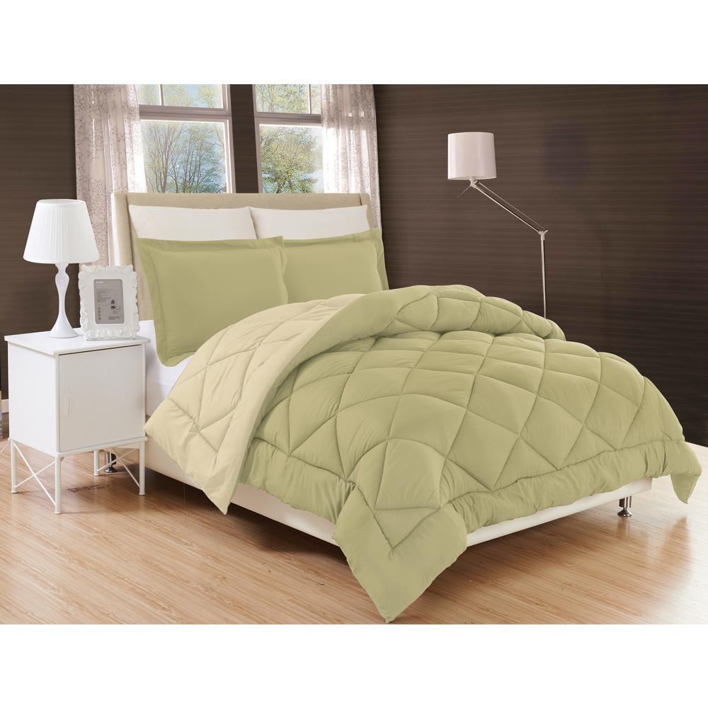 Down Alternative Sage and Cream Reversible Twin/Twin XL Comforter Set