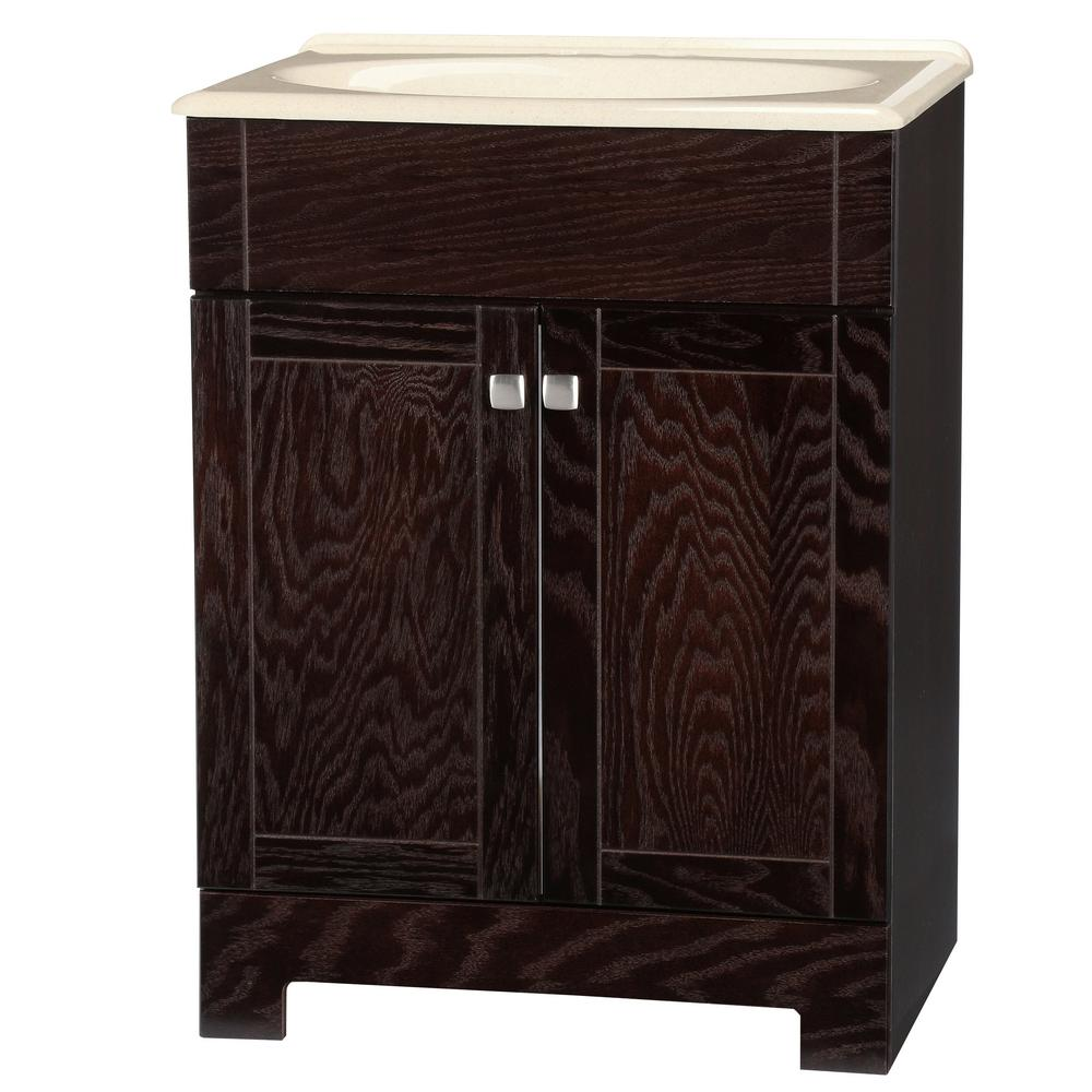 Renditions 24.75 in. W Bath Vanity in Java Oak with Solid