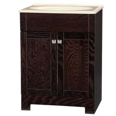 Renditions 24.75 in. W Bath Vanity in Java Oak with Solid Surface Technology Vanity Top in Wheat with Wheat Basin
