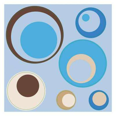 12 in. x 12 in. Spheres Blue 4-Piece Wall Decal
