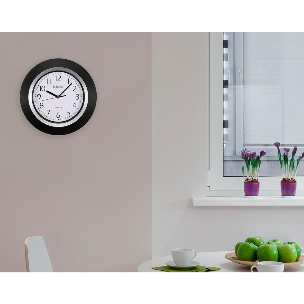La Crosse Technology 10 in. Round Analog Black Frame Wall Clock-404 ...