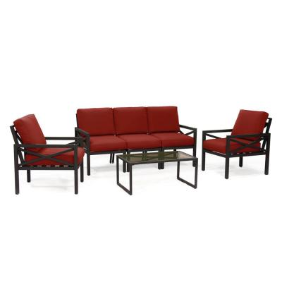 Blakely 6-Piece Aluminum Seating Set with Red Cushions