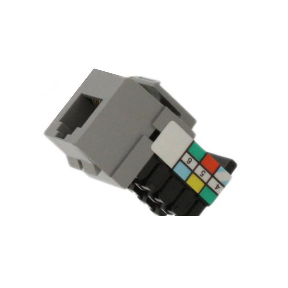 QuickPort 6P6C Voice Grade Connector, Gray