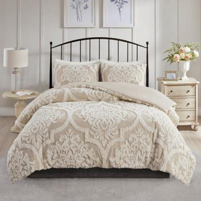 Aeriela 3-Piece Taupe King/Cal King Tufted Cotton Chenille Damask Duvet Cover Set