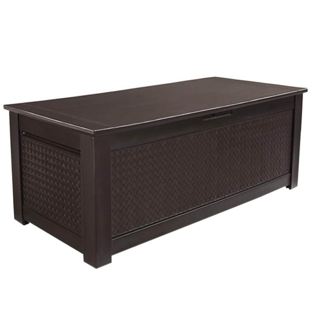 Rubbermaid Patio Chic 136 Gal Resin Basket Weave Storage Trunk Deck Box In Brown