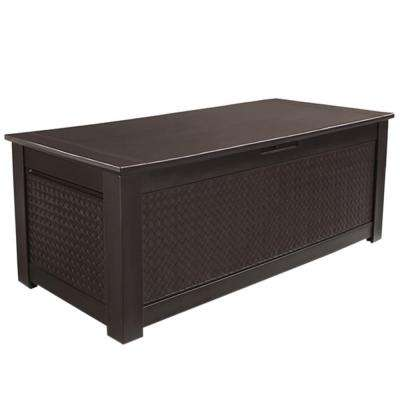 136 Gal. Chic Basket Weave Patio Storage Trunk Deck Box in Brown