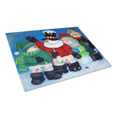 The Light Brigade Snowman Tempered Glass Large Cutting Board