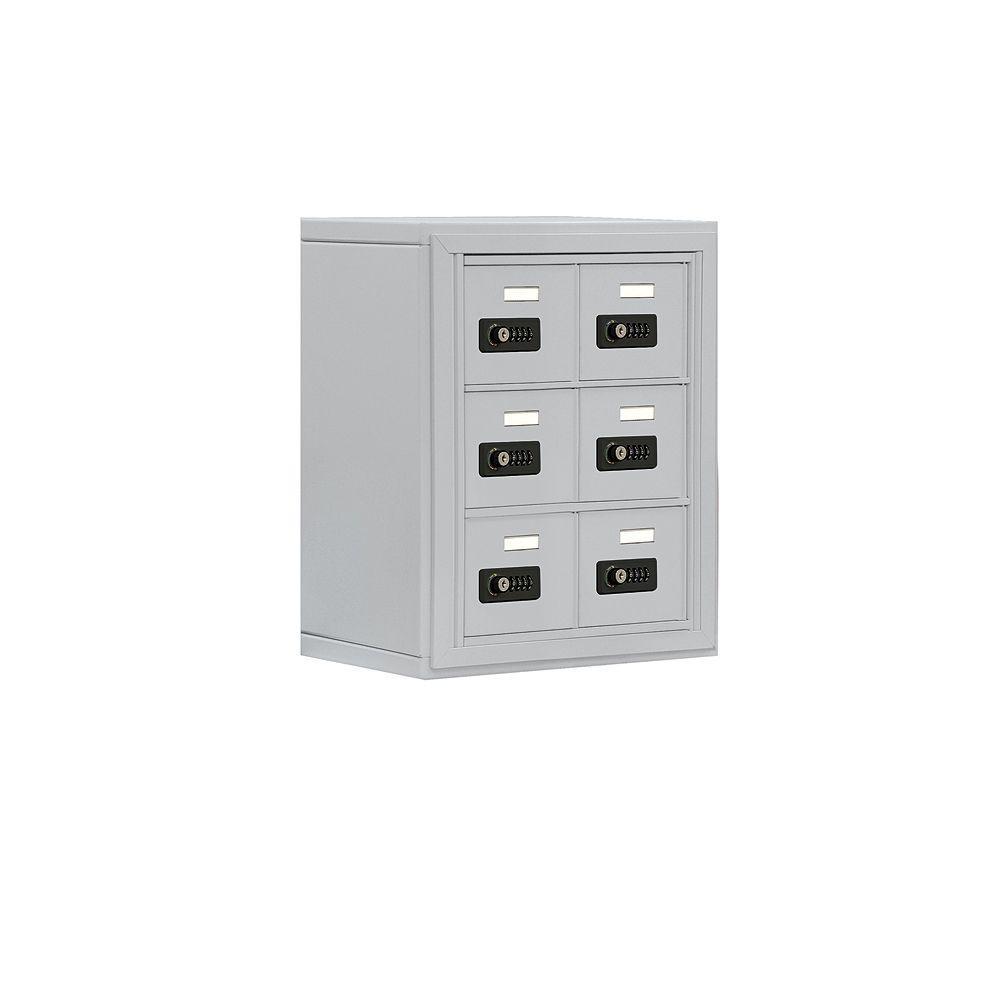 Salsbury Industries 19000 Series 17.5 in. W x 20 in. H x 9.25 in. D 6 A Doors S-Mount Resettable Locks Cell Phone Locker in Aluminum