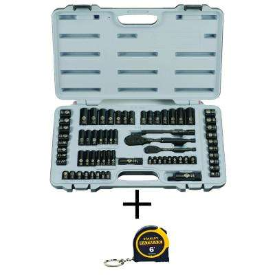 69-Piece Black Chrome and Laser Etched Socket Set with Bonus FATMAX 6 ft. x 1/2 in. Keychain Pocket Tape Measure