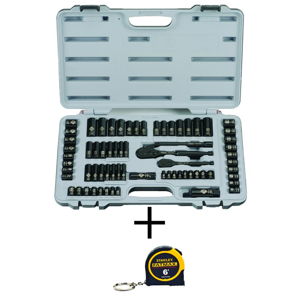 Stanley 69-Piece Black Chrome and Laser Etched Socket Set with Bonus FATMAX 6 ft. x 1/2 in. Keychain Pocket Tape Measure